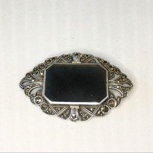 Jewelry - Vtg Sterling Silver & Onyx Brooch w/ Marcasites
